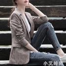 小西裝女外套2020新款格子休閒春秋款復古網紅西服上衣韓版英倫風 小艾新品