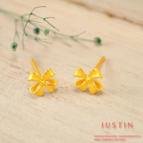 Justin金緻品 黃金耳環 守護之花 甜蜜呵護 金飾 9999純金耳環 花朵
