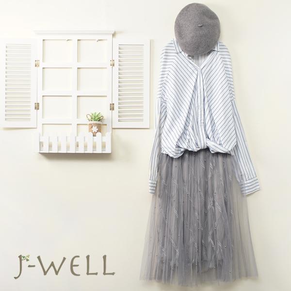 J-WELL 設計條紋上衣釘珠雙層網紗裙二件組(組合A561 7J2117白+9J1039灰)