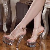 夏季新款女鞋 15cm/厘米超高跟涼鞋 性感全透明水晶細跟涼鞋