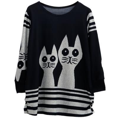 【AnZa】兩隻貓咪圖案條紋針織上衣(三色)