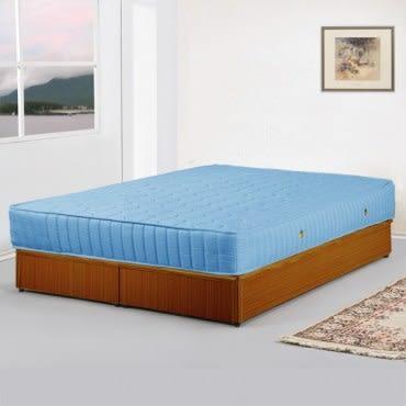 【Homelike】麗緻5尺床台+獨立筒床墊-雙人(四色可選)柚木紋