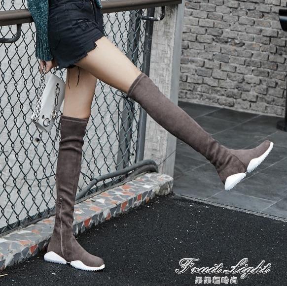 膝上靴 2019歐洲站新款個性運動彈力靴女厚底瘦腿膝上靴休閒鞋潮長筒靴【果果新品】