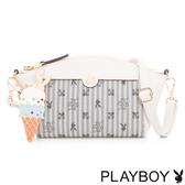 PLAYBOY- 斜背包 奇幻冰淇淋系列-琉璃白灰