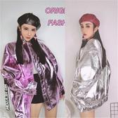 皮衣外套 薄款韓國INS同款皮衣嘻哈亮面鐳射寬鬆原宿bf夾克gd同款男女 雙12