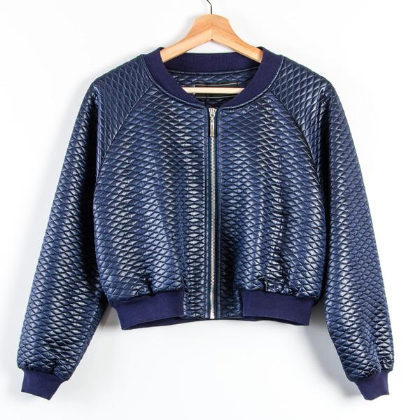 【MASTINA】亮面菱格紋短版飛行外套-藍 秋冬嚴選