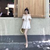 港味復古chic氣質荷葉邊仙女裙修身吊帶裙短裙性感露肩洋裝 夢想生活家