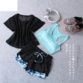 運動套裝女夏季春秋2018新款健身服馬拉鬆跑步寬鬆網紗健身房瑜伽