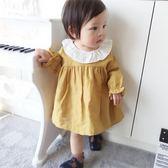 【618好康鉅惠】黃色娃娃裙1歲小童韓版撞色長袖裙嬰兒上衣