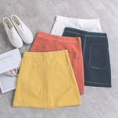 MUMU【P88582】雙口袋造型縫線A字短裙。四色