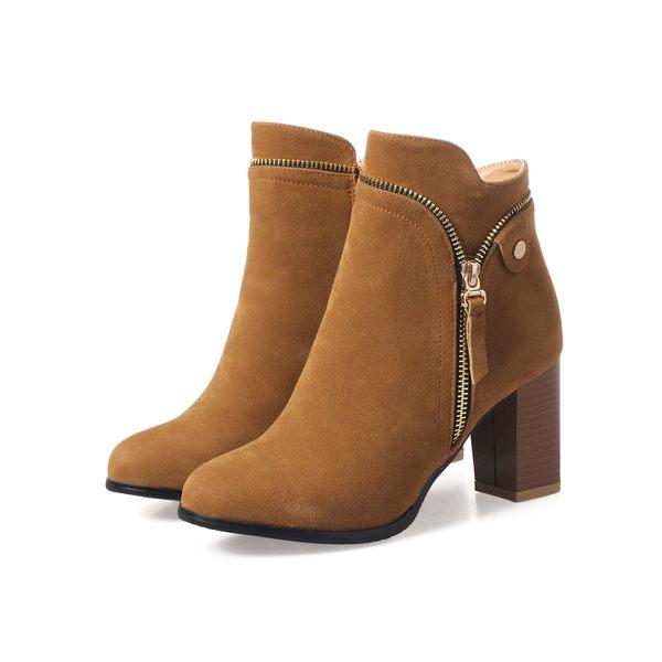 Dingle丁果大尺碼ღ造型拉鍊絨面高跟短靴*4色