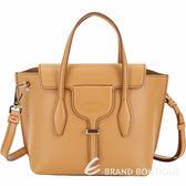 TOD'S Joy Bag T釦牛皮手提肩背包(南瓜黃色) 1920046-D8