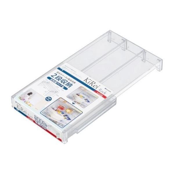 小禮堂 Inomata 日本製 ㄇ型冰箱架高收納架 M (透明款) 4905596-03888