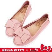 HELLO KITTY X Ann' S 牛皮蝴蝶結柔軟便鞋-粉