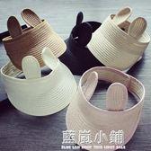 夏季防曬兒童耳朵空頂帽韓版寶寶遮陽草帽太陽帽兔耳朵男女童摺疊 美芭