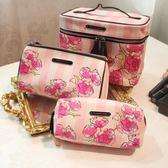 收納袋 化妝包  維多利亞 pu花瓣大容量洗漱包手拿包便攜手提收納包