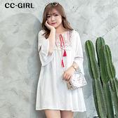 中大尺碼 流蘇圖騰民族風寬袖洋裝 - 適XL~4L《 64239G1 》CC-GIRL