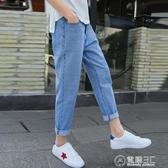 夏季九分牛仔褲男士韓版港風bf哈倫直筒寬鬆薄款9分破洞褲子潮流 電購3C