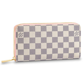 Louis Vuitton LV N63503 白棋盤格拉鍊長夾.粉紅邊 全新 現貨【茱麗葉精品】