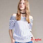 【專櫃新品↘8折】條紋一字領短袖襯衫(淺藍) - BLUE WAY ET BOîTE 箱子