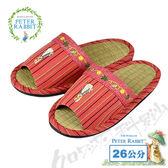 【クロワッサン科羅沙】Peter Rabbit 彩條藤葉邊草蓆室內拖鞋 (紅色26CM)