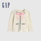 Gap女幼童 立體蝴蝶結裝飾圓領長袖T恤 649464-清新豆沙綠