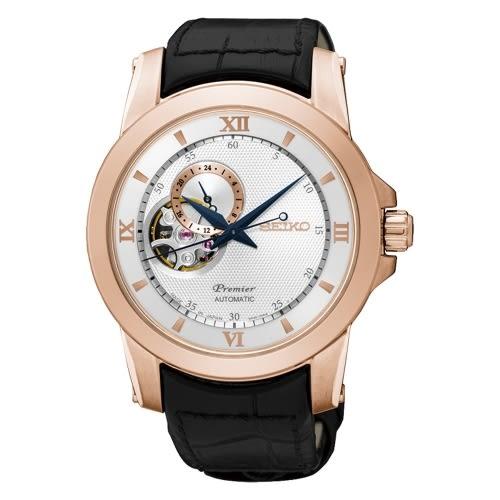 SEIKO Premier 典藏風格鏤空設計機械腕錶/玫瑰金x皮帶/4R39-00P0P