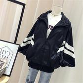 正韓棒球服女短款寬鬆bf撞色條紋防曬外套學生夾克潮優樂居生活館