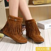 平跟套筒短靴女靴子流蘇靴短筒靴