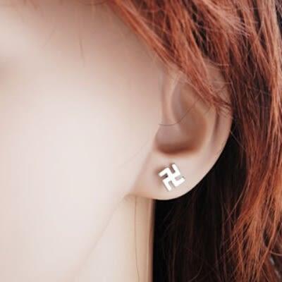 925純銀耳環(耳針式)-生日七夕情人節禮物卍字符號個性流行女耳飾73ag47[巴黎精品]