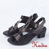 ★2018春夏新品★Kadia.高雅美感真皮後帶粗高跟涼鞋(8308-91黑)