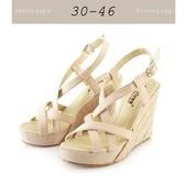 大尺碼女鞋小尺碼女鞋麻織綁帶編織楔型鞋厚底涼拖鞋四色杏色(30-43444546)現貨#七日旅行