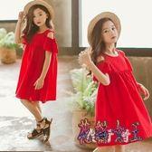 女童紅色露肩短袖洋裝 夏2019新款童裝小女孩公主裙棉質 BT2822【花貓女王】
