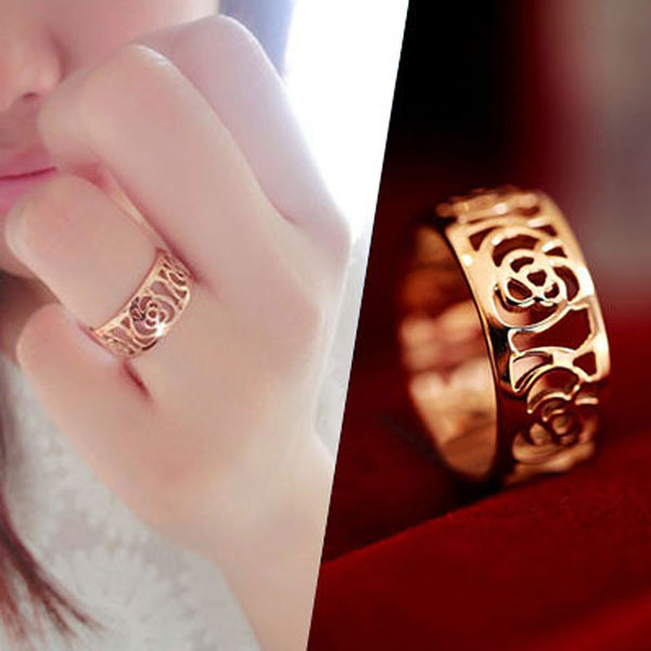戒指 韓劇同款山茶花玫瑰簍空花邊戒指【O2499】☆雙兒網☆