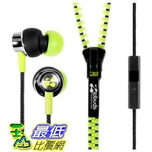 [103 美國直購] Zipbuds 拉鍊專利耳機 草綠色  ZBPMYL PRO mic Zipper Earbuds Mic/Remote, Neon Yellow _d0a