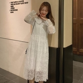 秋冬新款韓版法式收腰蕾絲洋裝女氣質中長款白色A字仙女裙 伊衫風尚