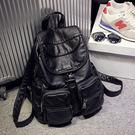*UOU精品*韓國時尚款 水洗皮雙肩包休閒旅行多口袋拉鍊後背包 包包‧黑色【T381】