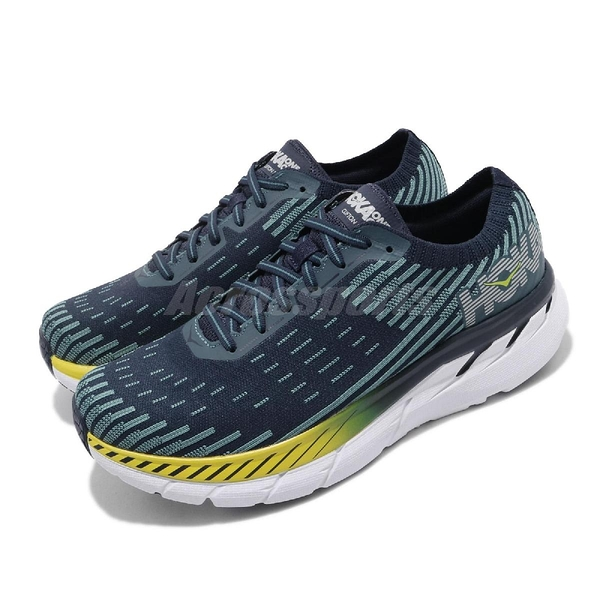 Hoka One One 慢跑鞋 Clifton 5 Knit 黑 藍 男鞋 運動鞋 【PUMP306】 HO1094309BISB