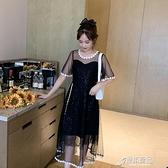 連身裙 大碼胖妹妹mm連身裙顯瘦夏季裝新款氣質淑女拼接網紗仙女裙【原本良品】