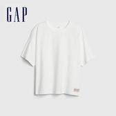 Gap 男童 Logo棉質舒適圓領短袖T恤 537781-光感亮白