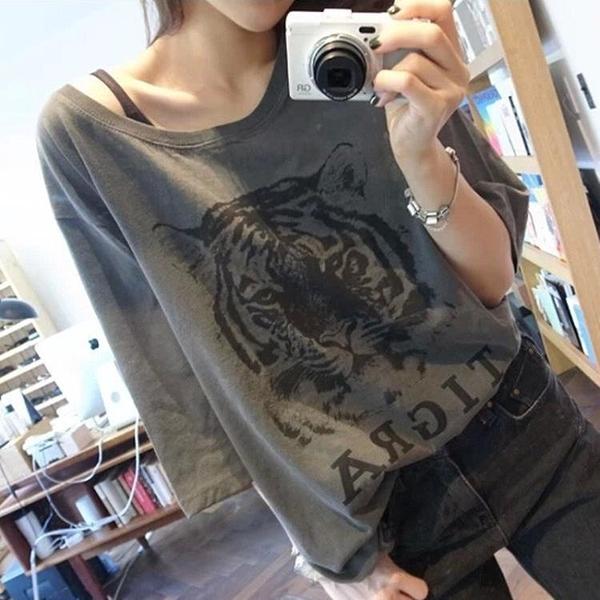 539#夏季短袖t恤女寬松韓版學生bf潮體恤老虎頭印花半袖打底衫依佳衣