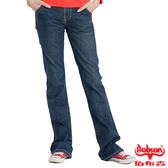 BOBSON 女款磨破貼口袋伸縮喇叭褲(9014-53)