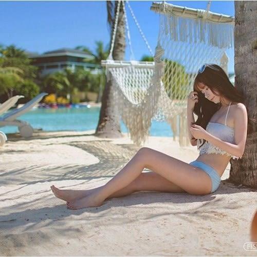 梨卡★現貨 - 日系VIVI風  [集中鋼圈]  蕾絲二件式泳衣比基尼 - 夢幻荷葉邊二件式比基尼C679