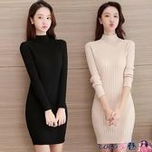 針織連身裙 長款毛衣女打底衫洋氣修身包臀百搭外穿2021新款秋冬裝針織連身裙 coco