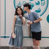 氣質情侶裝夏裝新款韓版寬鬆短袖套裝沙灘蜜月洋裝潮  韓小姐