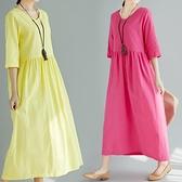 中袖洋装 2020夏季新款文藝大碼亞麻V領大擺長裙子收腰顯瘦中袖棉麻洋裝
