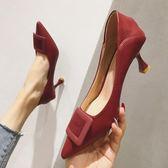 高跟鞋高跟鞋女春秋季秋冬尖頭細跟單鞋女秋款LX 嬡孕哺