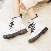 新款馬丁靴女厚底學生短筒棉鞋百搭冬季雪地鞋子短靴 樂趣3c