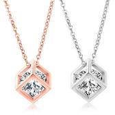 《 QBOX 》FASHION 飾品【C19N702】 精緻女款微鑽鋯石幾何方形鍍玫瑰金墬子項鍊