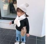 LUSON 女寶寶兔毛毛絨圍巾嬰幼兒毛絨圍脖冬季可愛兒童圍巾